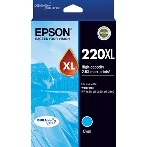 EPSON 220XL High Capacity DURABrite Ultra Cyan ink(Epson WF-2630