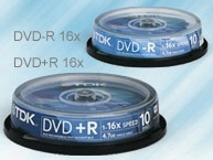 TDK DVD+R 4.7GB 16x DVD 10 Spindle Recordable