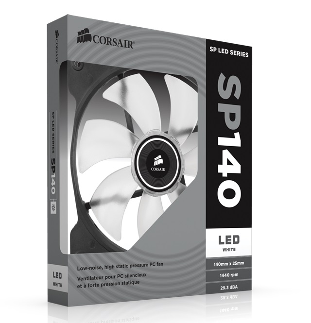 Corsair SP140 , High Static Pressure 140mm Fan - White LED