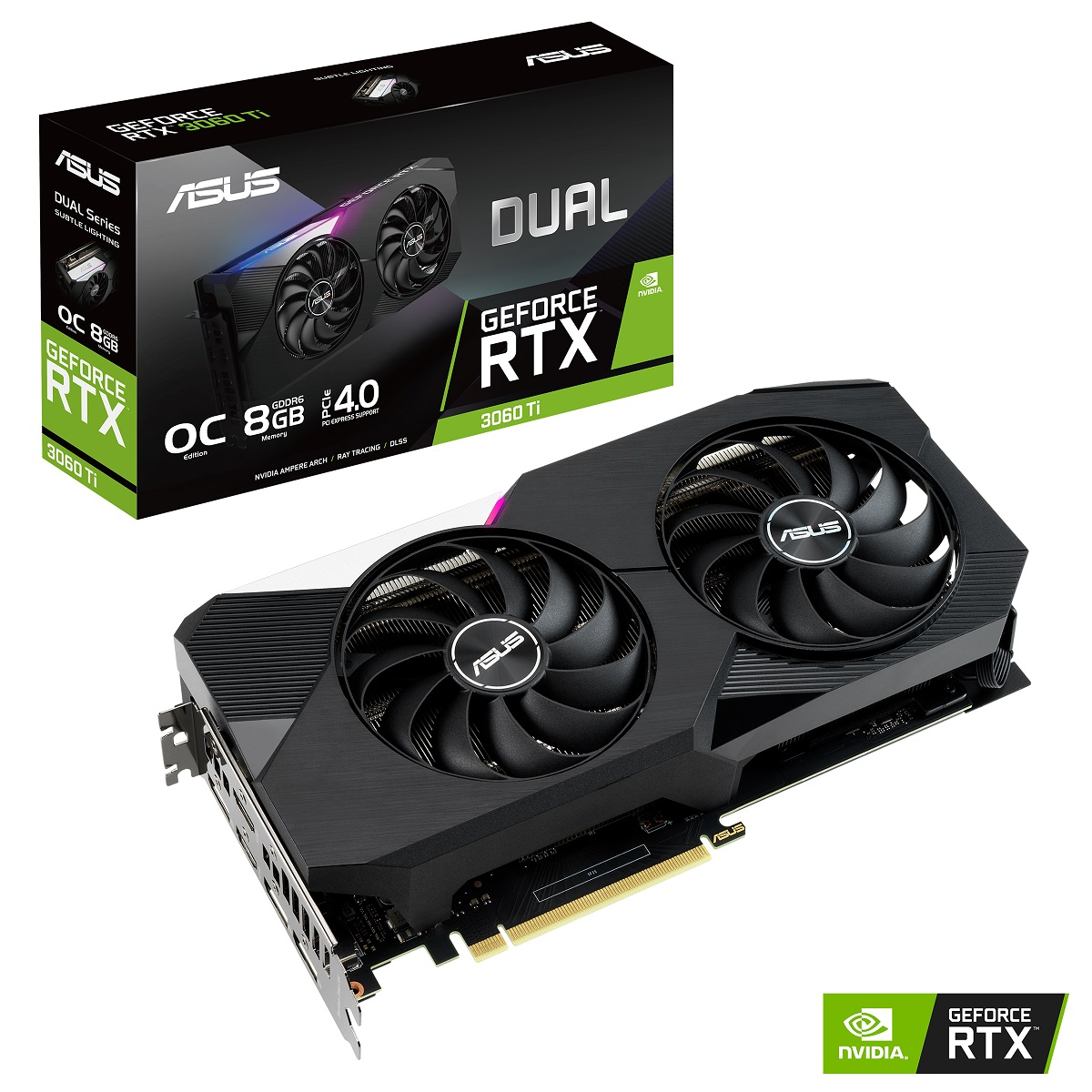 ASUS nVidia Geforce DUAL RTX 3060 8G GDDR6 OC Edition, 1740 MHz 2nd Gen RT Cores 3rd Gen Tensor Cores