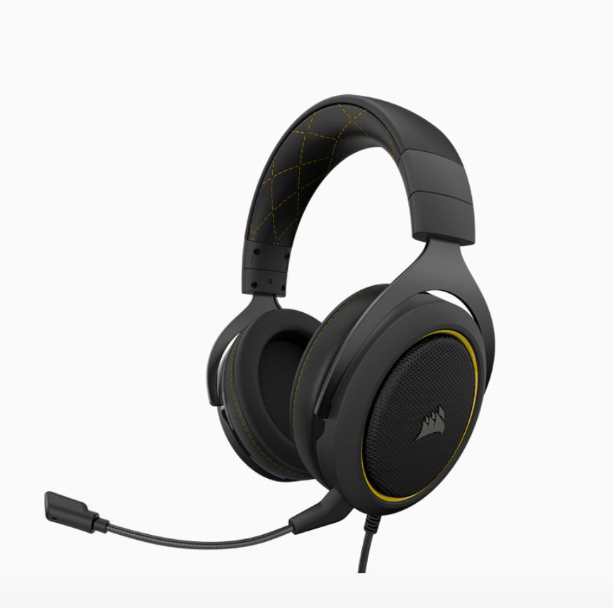 Corsair HS60 PRO Black Yellow Trim STEREO 7.1 Surround, memory foam, Discord Certified, PC and Console compatible Gaming Headset