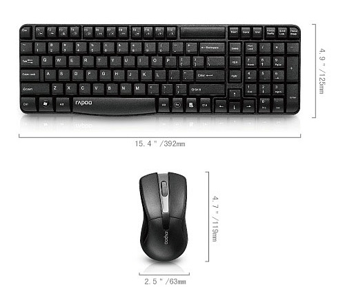 RAPOO X1800 Wireless Keyboard and Mouse Combo set - Black