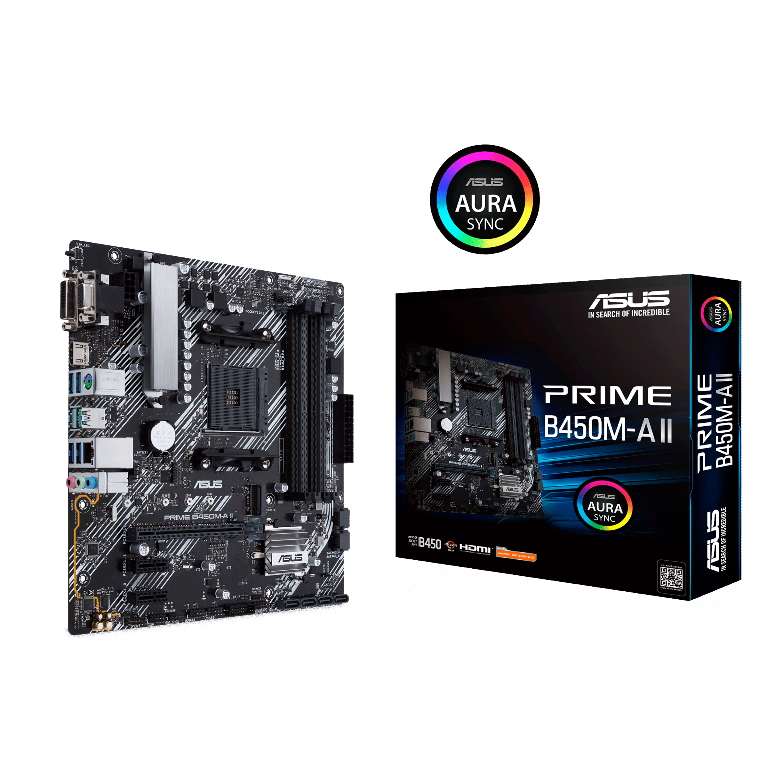 ASUS PRIME B450M-A II AMD Micro ATX motherboard with M.2 support, HDMI/DVI-D/D-Sub, SATA 6 Gbps, 1 Gb LAN USB 3.2 Gen 2 Type-A