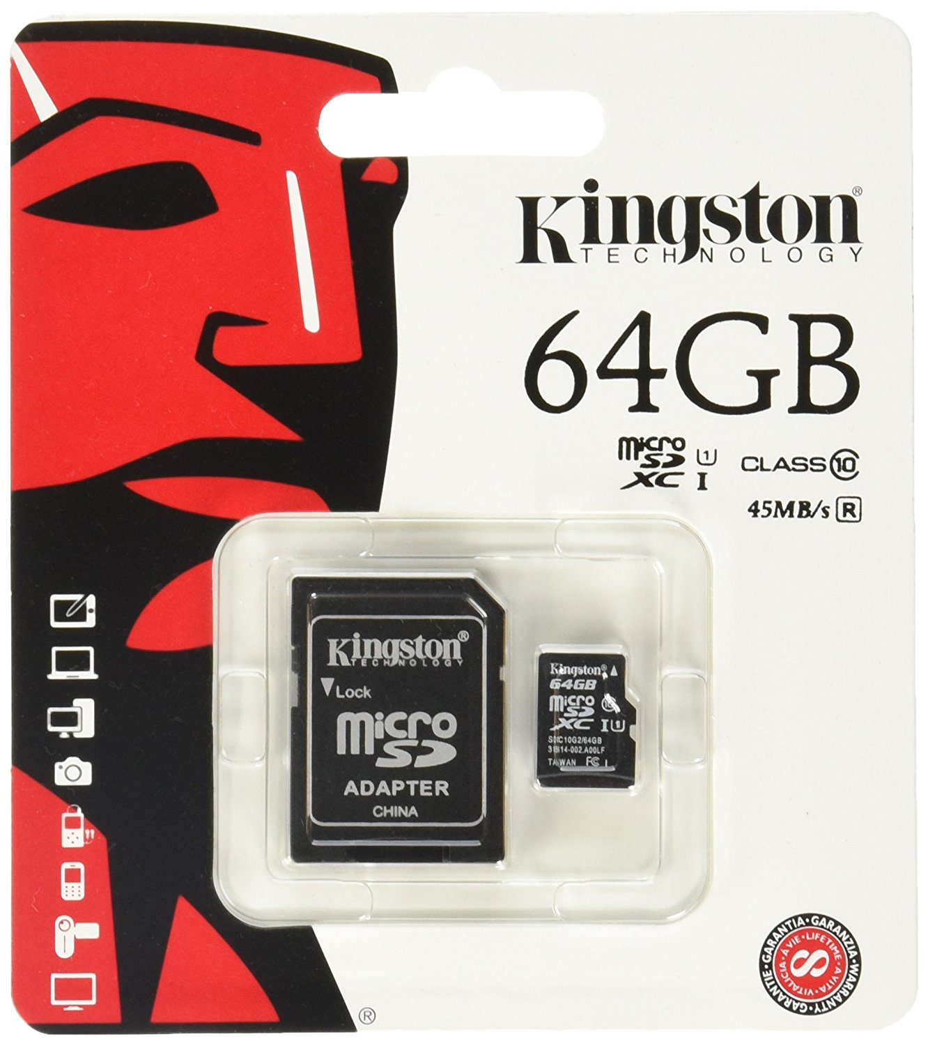KINGSTON 64 GB Micro SDHC Memory Card with Adaptor