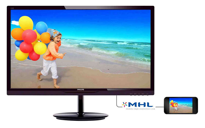 "Philips 244E5QHAD 23.6"" Widescreen IPS LED MONITOR w/ Speakers,"