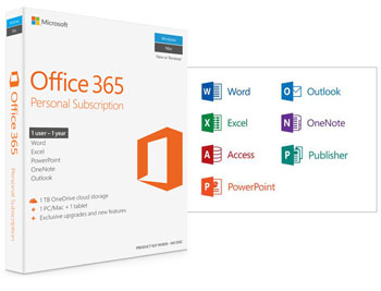 MICROSOFT Office 365 Personal - 32-bit/x64 English P4 - 1YR Subs