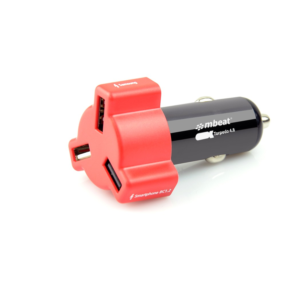 MBEAT 3 X USB Car Charger (4.8A / 24W) - Red