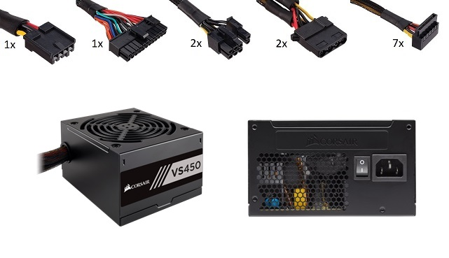 Corsair VS450 450W 80Plus Power Supply - 2x PCI-E, 7x SATA, 2x M