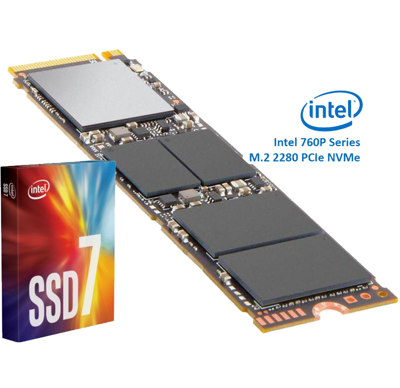 Intel 512GB SSD 760P Series, NVMe, M.2 read/write speed 3230/16