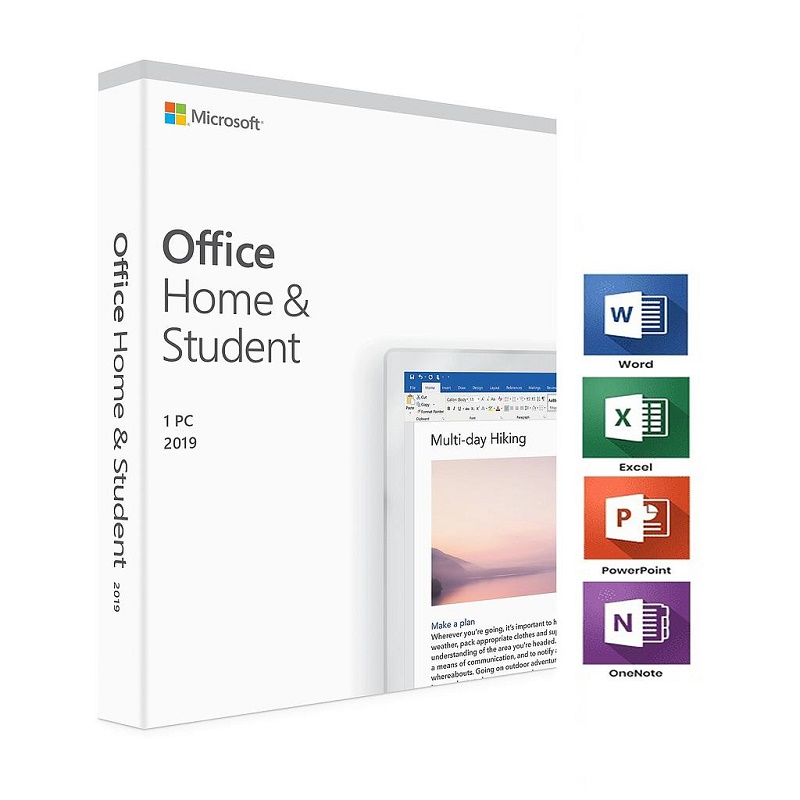 Microsoft Office Home and Student 2019 English Medialess 1 User for PC & Mac. Product Key Card