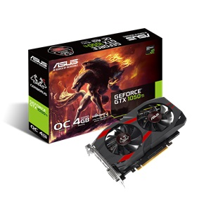 ASUS GTX1050TI OC Video Card,4GB 128bit GDDR5, DVI-D / HDMI / DP